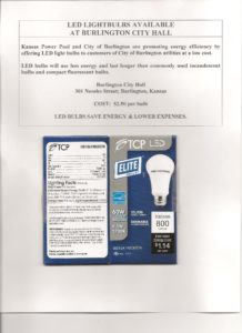 60W LED Bulbs Available at Burlington City Hall for $2 50 ea 001